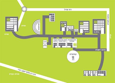 מפת מבנים בקמפוס קרית אונו